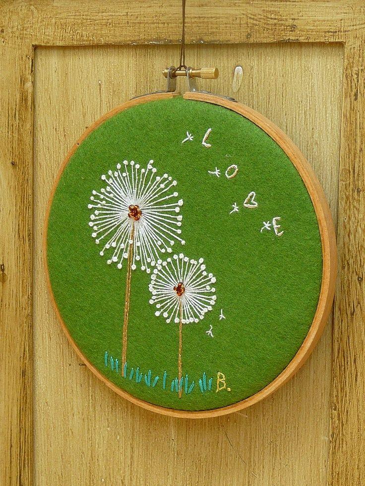 dandelion embroidery pattern love - Google Search