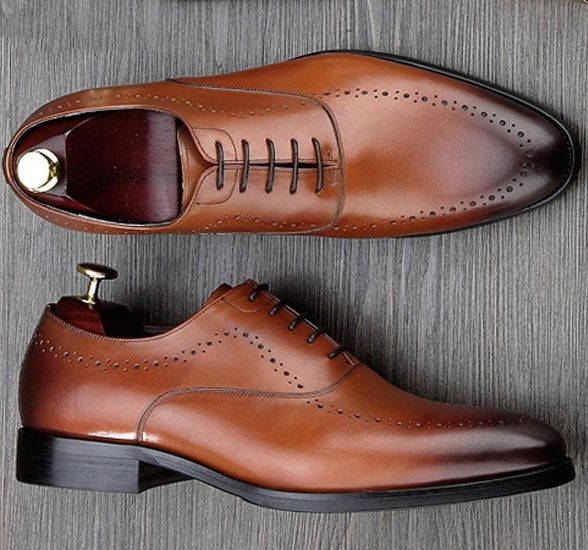 Handmade Luxury Brand Man Wedding Shoes Genuine Leather Dress Oxfords Shoes Men #Handmade #OxfordsWingTip #Wedding