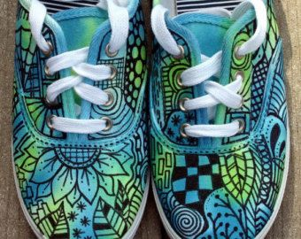 CUSTOM Zentangle sneakers!!! Most definitely OOAK!!! Totally colorful and outrageous!! Permanent fabric ink. So much FUN!  This pair is NOT FOR
