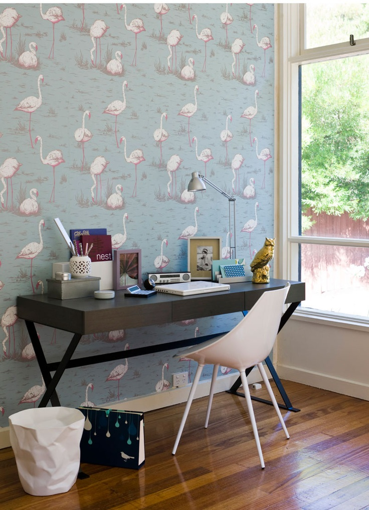 amazing flamingo wallpaper from clair olivia wayman's styling portfolio