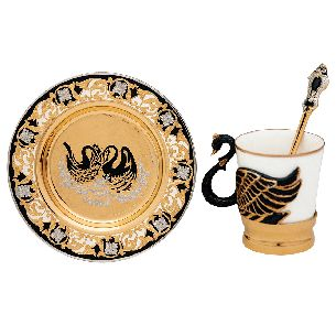 """Кофейный набор """"Лебедь"""". Подстаканник, чашка, блюдце, ложка - Чашки, стаканы, подстаканники <- Посуда <- VIP - Каталог   Универсальный интернет-магазин подарков и сувениров"""