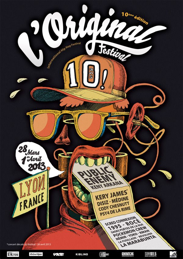 L'Original Hip Hop Festival - Poster by Olivier Bonhomme, via Behance