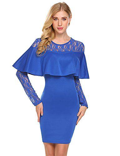 Zeagoo Femme Robe de Cocktail Bodycon Doté de Manches Creuse Dentelle et  Epaule - Bleu foncé 7e7c87bcb59