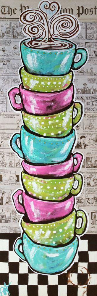 Canvas Print Sunday's Cup A Joe Fun Coffee Mugs by PaintedInColor Jackie Carpenter  Washington Post Newspaper Comics
