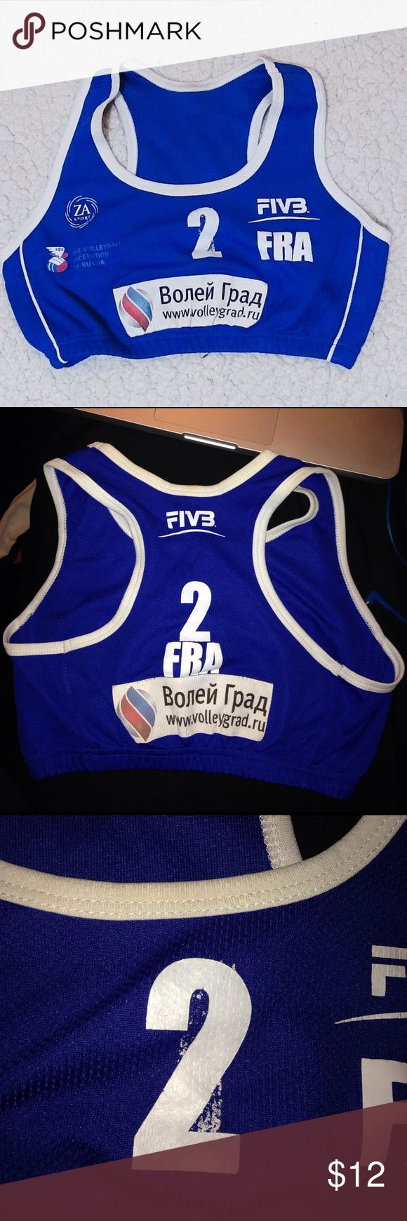 FIVB Beach Volleyball International Sport bra Sport bra from the FIVB beach volleyball tournament in Russia. Was worn for the French national team so has the letters FRA and number 2 on the front and back. Size Medium. The number 2 on the front was not printed well but this is still a very valuable sport bra from an international tournament. Tag: ZA sport - The Volleyball Federation of Russia Other