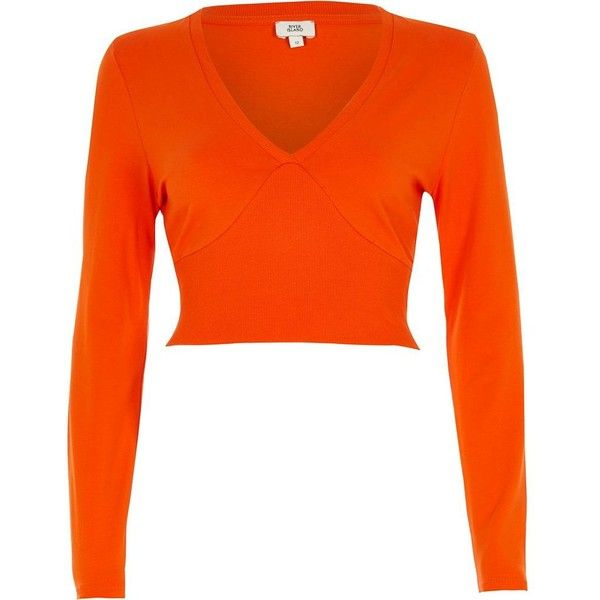 River Island Orange long sleeve ribbed insert crop top ($32) ❤ liked on Polyvore featuring tops, orange, crop tops / bralets, women, orange crop top, cut-out crop tops, fitted tops, v neck long sleeve top and ribbed top