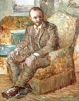Vincent van Gogh: Portrait of the Art Dealer Alexander Reid, Sitting in an Easy Chair. Oil on cardboard. Paris: 1886/87. Norman, Oklahoma: Fred Jones Jr. Museum of Art.