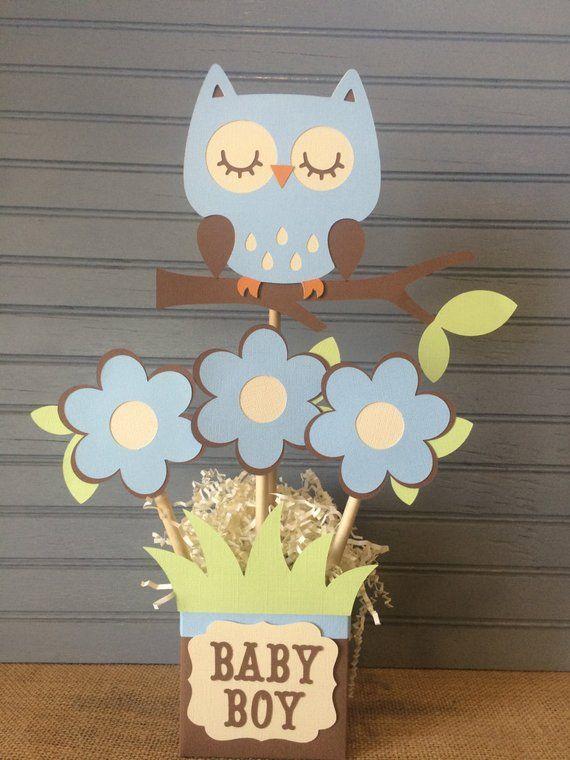 Owl Baby Boy Shower Centerpiece In 2020 Boy Baby Shower