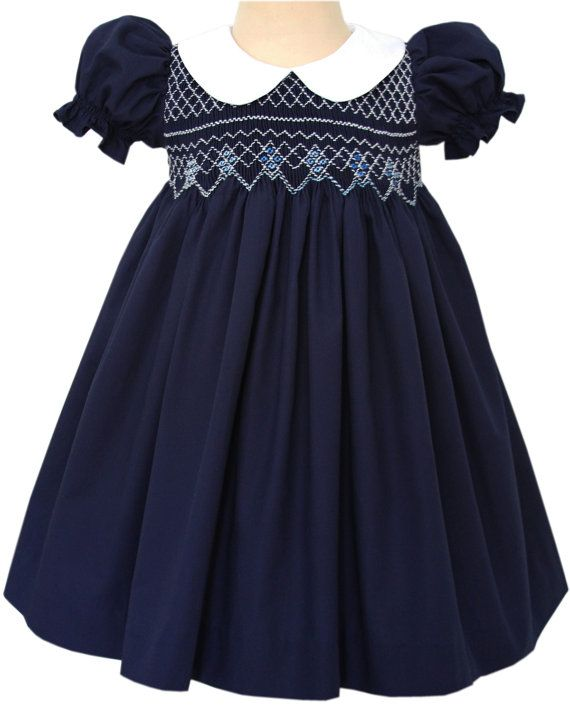 Beautiful Bliss Navy Classic Smocked Girls Dress, Baby  Toddlers Holiday Clothing, Elegant Vintage Frock and White Peter Pan Collar. 17965