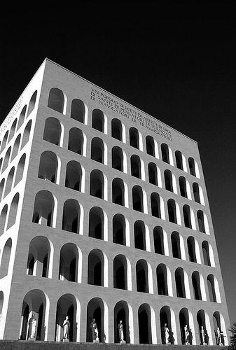 """""""Square Colosseum"""" in Palazzo della Civiltà Italiana in the EUR district of Rome, by G. Guerrini, E. Lapadula, and M. Romano, 1943."""