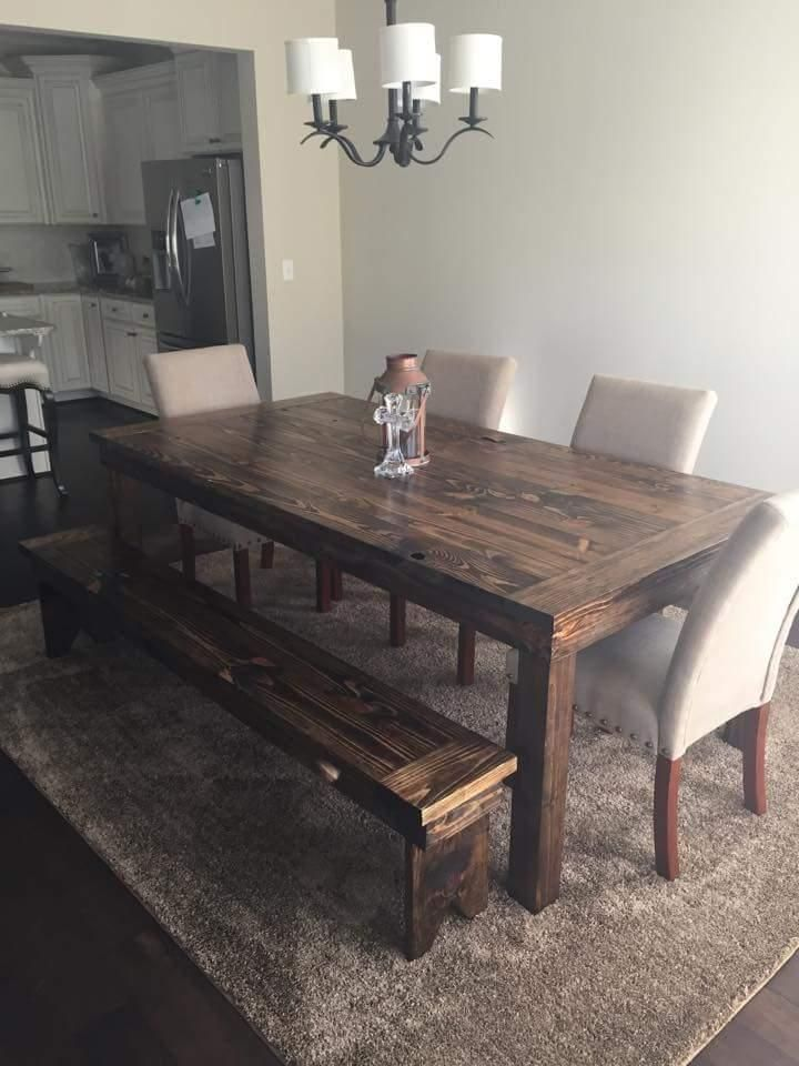 For Sale: Rustic Farm Style Wood Dining Table Furniture - This is a 7ft by 44in dining table with post legs! It is stained dark walnut and is fully sealed! We design and build furniture! This table is $450.00 the bench is $105.00 and the fabric chairs are $120.00 (we order these to go with the tables).