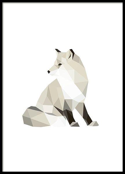 rafische veelhoek poster met een vos. Mooi op de muur, geschikt voor in een collage met meerdere dieren of andere grafische motieven. www.desenio.nl