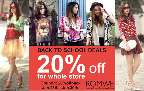 Romwe back to school deals 20% off for whole store by this coupon: 20%offback Only three days: 28th Jan to 30th Jan Don't miss, girls! Check all items here:http://www.romwe.com/?susie