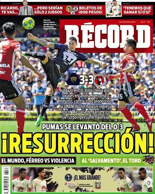 ¡Resurrección! @PumasMX se levantó de un 0-3 y con garra, logró igualar en CU con @Xolos #hoyentuRÉCORD #Portada