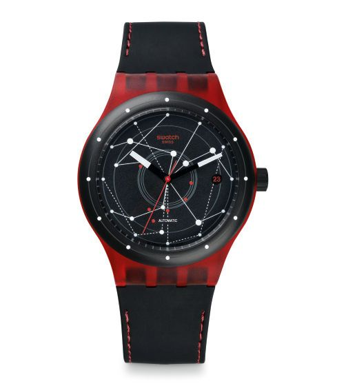 Swatch Sistem51 Red (first machine-made automatic, only 51 parts, $150, hermetically sealed)
