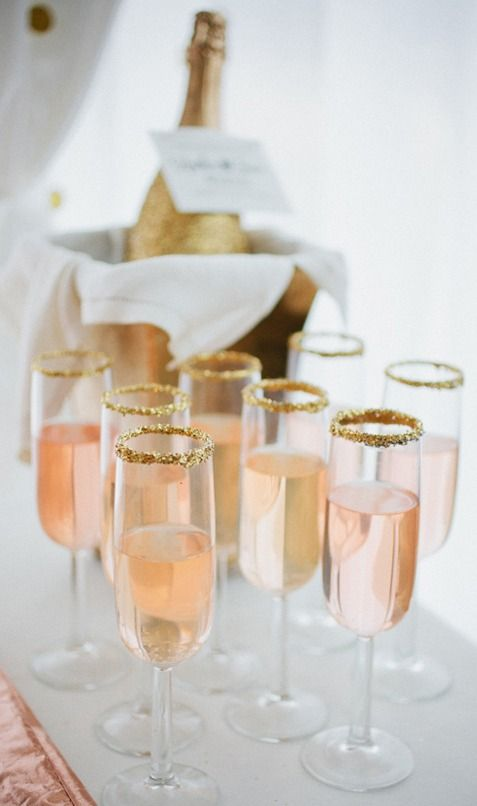 Champagne with Gold Sugared Rim Glasses