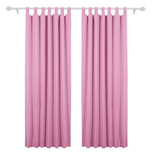Deconovo Vorhang Blickdicht Schlaufen Wohnzimmer Kinderzimmer Vorhang Verdunkelung 175x140 cm Rosa 2er set