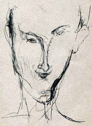 Modigliani - Hans (Jean) Arp ( Hans Arp by Amedeo Modigliani , from : Richard Huelsenbeck , travel to the end of freedom . Autobiographical fragments . Heidelberg 1984)