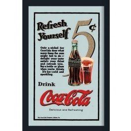 Innrammet+Speil+med+Motiv+-+Coca-Cola+Refresh+Yourself+-+22+x+32+cm