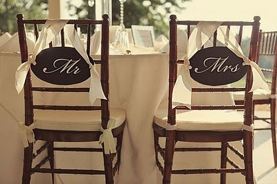 The couple's wedding chairs!