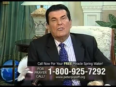 """Peter Popoff had a nationally broadcast show that involved calling out seemingly random members of the audience and using his """"divine powers"""" and connection to God to predict what their ailments were and then claimed to """"heal"""" them with his touch. It was later revealed that he was actually using an earpiece to get information that was previously provided about them. He also claimed to provide """"miracle water"""" to people, which turned out to have just been water purchased at the wholesale…"""