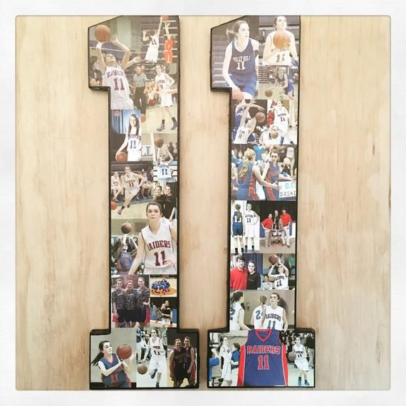 Ships Free! Hockey Photo collage for Senior Night gift, coach gift, Picture number collage! Basketba