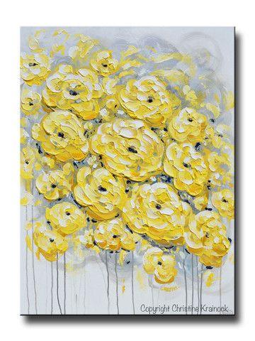 Quot Inspired Quot 40x30 Quot Original Art Yellow Grey Abstract