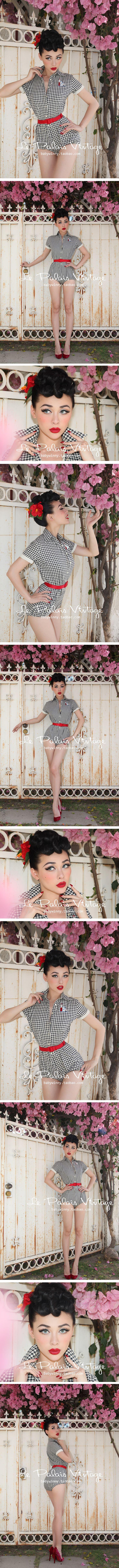 le palais vintage 复古甜美经典黑白格衬衫百搭连体裤【重0.25】-淘宝网
