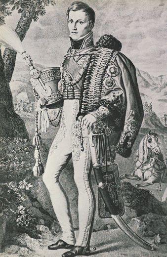 Prins van Oranje tijdens de slag bij Waterloo | Militair Magazijn | Armamentaria. Willem Frederik George Lodewijk Prins van Oranje (de latere Koning Willem II) 1792— 1849 afgebeeld in kolonelsuniform van een engels Huzaren-Regiment, ten tijde dat hij, gedurende de veldtocht in Spanje, was toegevoegd aan de Hertog van Wellington. Gravure van J. Lengnan (1816) naar een te Brussel geschilderd portret door Joh. Odevarc.