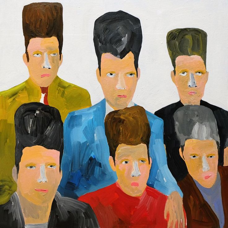 'A Serious Portrait' #alanfears 76cm x 76cm #painting #quiff #hair #hairstyle #men #menshair #teddyboys #rockers #design #naiveart #folkart #popart #portraitpainting #figurativeart #contemporaryart #saatchiart #interiors #itsnicethat #1stdibs #modernart #illustration #portrait #thetaxcollection #figurative #artoftheday #fashion #britishart #contemporaryartcurator