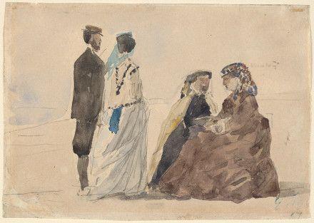 Буден, Эжен Французский, 1824 - 1898 Две дамы и Сидящий Пара, ходить на пляж C. 1866 акварель над графита на ткали бумаги общий: 11 х 15,5 см (4 5/16 х 6 1/8 дюйма) Коллекция г-н и г-жа Пола Меллона1985.64.77Не на вид