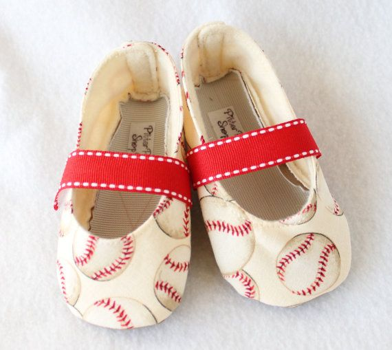 A LEAGUE of HER OWN-Red, Cream, Baseball, Sport Mary Jane Baby Girl Boutique Bootie on Etsy, $20.00
