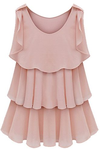 Pink Sleeveless Tired Ruffle Chiffon Blouse US$27.35
