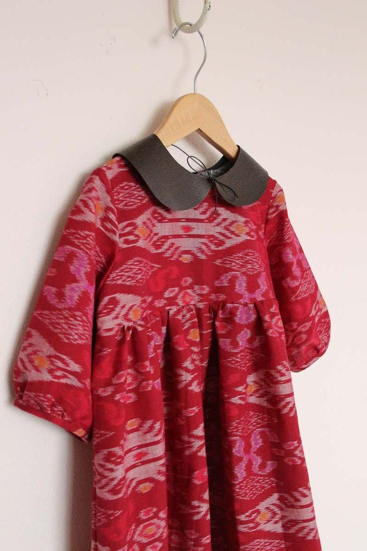 Pink Ikat Dress with Faux Leather Peter Pan Collar / Sanae Ishida