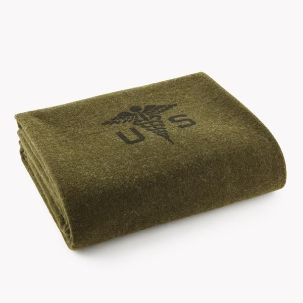 Foot soldier military wool blanket - army medic green (folded)