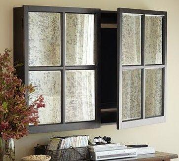 Mirror Wall-Mount Flatscreen TV Cabinet Media Storage, Black, Large - traditional - media storage - Pottery Barn