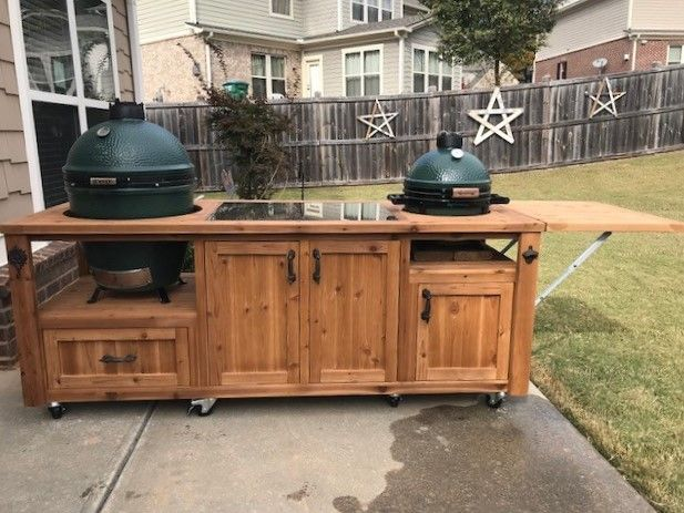 Double Big Green Egg Grill Table Made For Kamado Joe Primo And Gas Grills Outdoor Kitchen Grill Outdoor Patio Table Big Green Egg Outdoor Kitchen