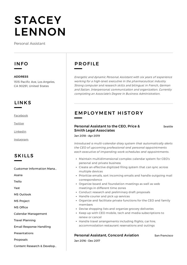 Personal Assistant Resume & Writing Guide in 2020 Job