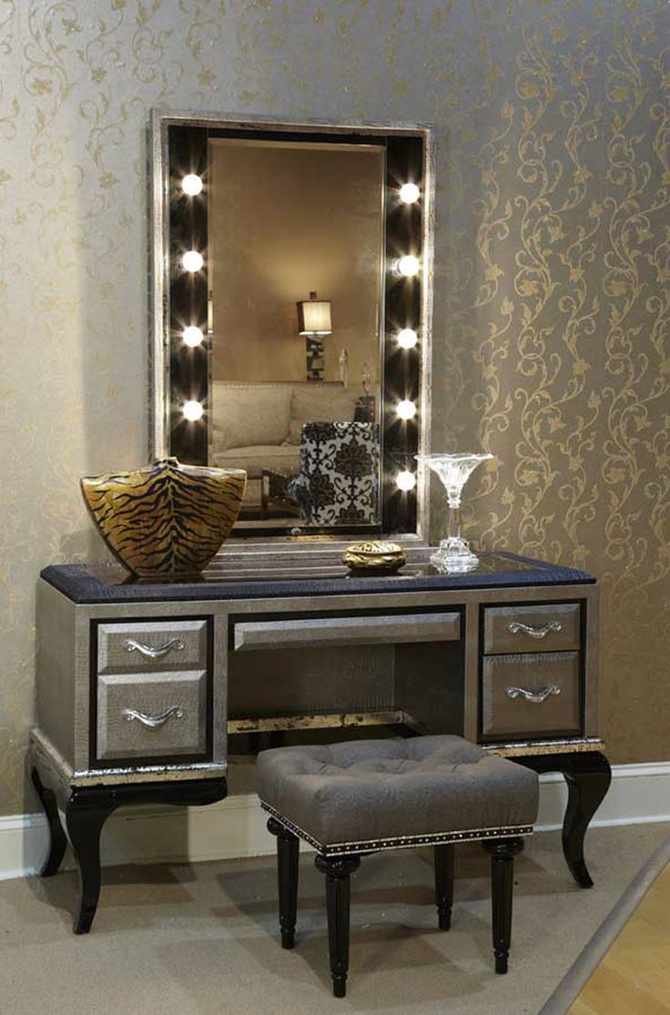 Light gray closet with mirrored make up vanity cabinets transitional - Lavish Bedroom Vanity Sets With Lighted Mirror And Rectangle Puff On Wooden
