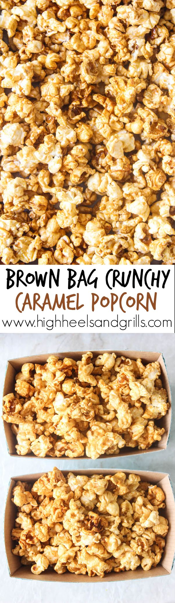 Brown Bag Crunchy Caramel Popcorn - This caramel popcorn is made using just your microwave and is easy, buttery, and delicious.