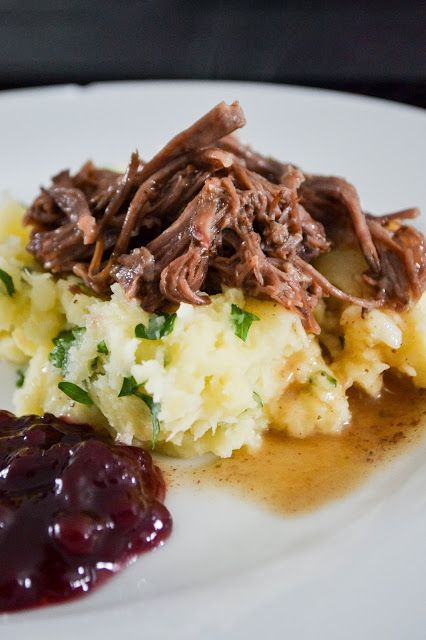 Slow Cooked Beef Short Rib with Parsnip Mash and Lingonberry Jam Paleo Dairy Free AIP