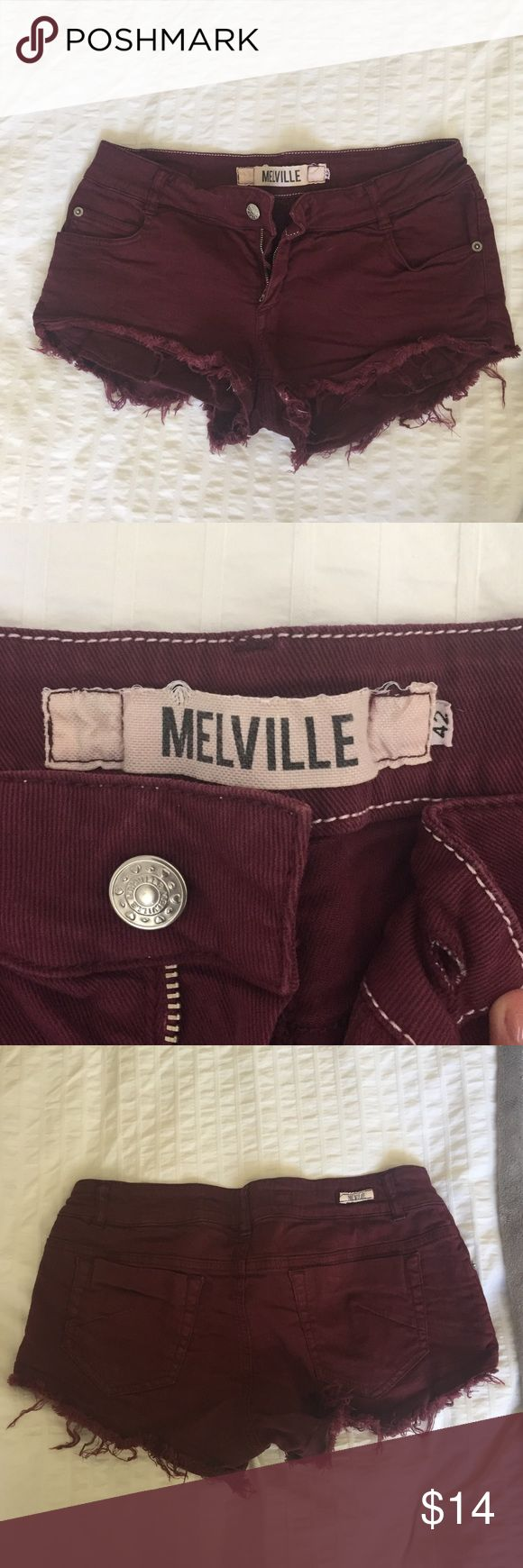 Brandy Melville Burgandy Cutoff Shorts Really short cutoff burgandy/ wine color shorts from Brandy Melville. Says size 42 (fits like a 0/2). Really cute for teens. Fashionable for fall. Brandy Melville Shorts Jean Shorts