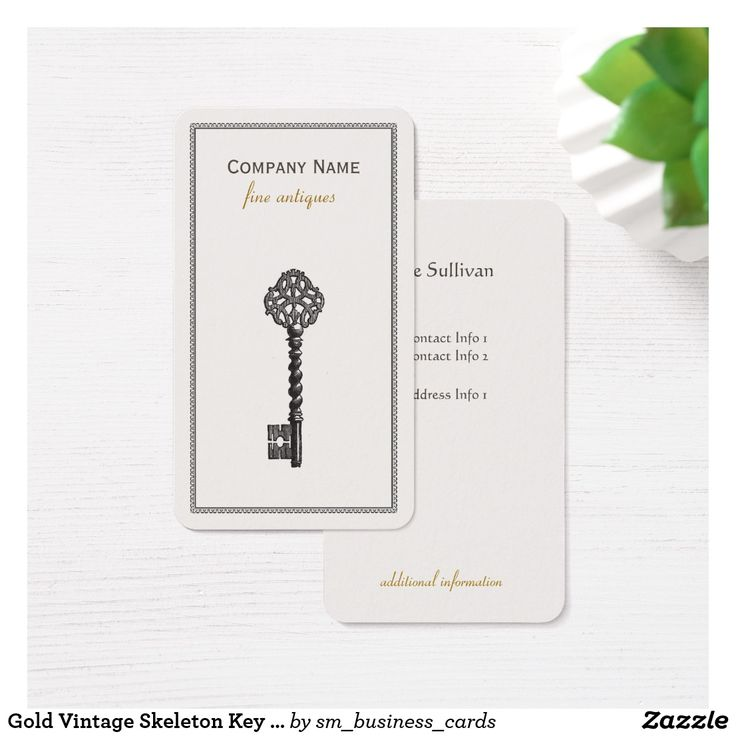 18 best antique dealer business cards images on pinterest business gold vintage skeleton key antique furniture store business card reheart Gallery
