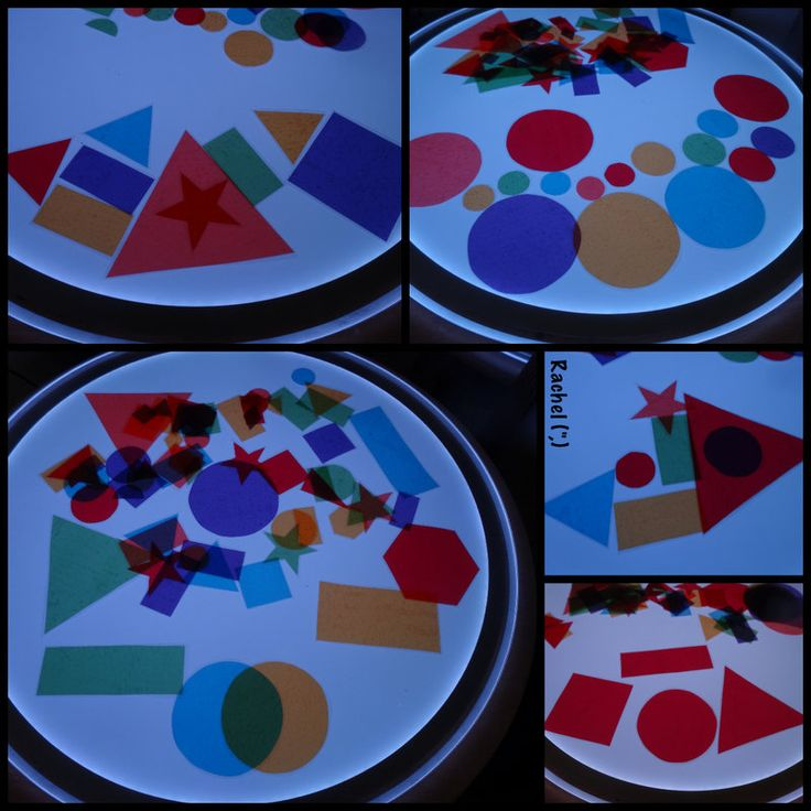 Laminated cellophane shapes on the light panel. Gloucestershire Resource Centre http://www.grcltd.org/scrapstore/
