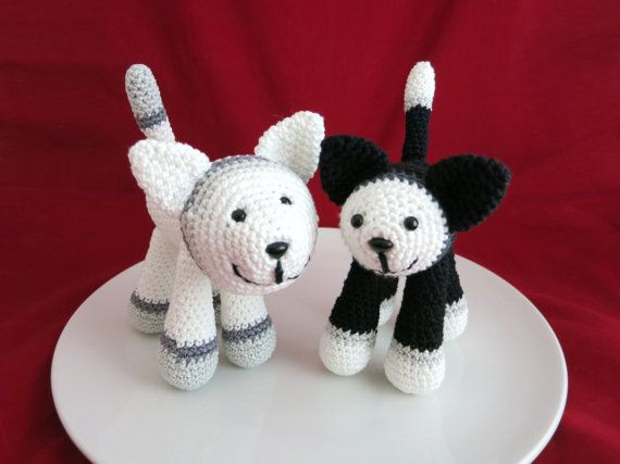 Cat Crochet cats Super cute Cat  Black and white by MyNihonjin