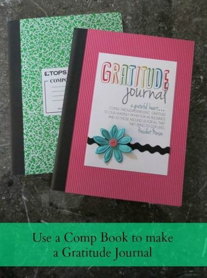{Gratitude Journal made out of a Comp Book. Made with FREE printable from All Things Bright and Beautiful.}