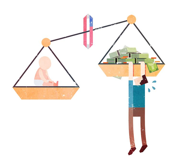 Spot illustration inspired by article on the increasing costs of raising a child from birth to age 18 in the US.