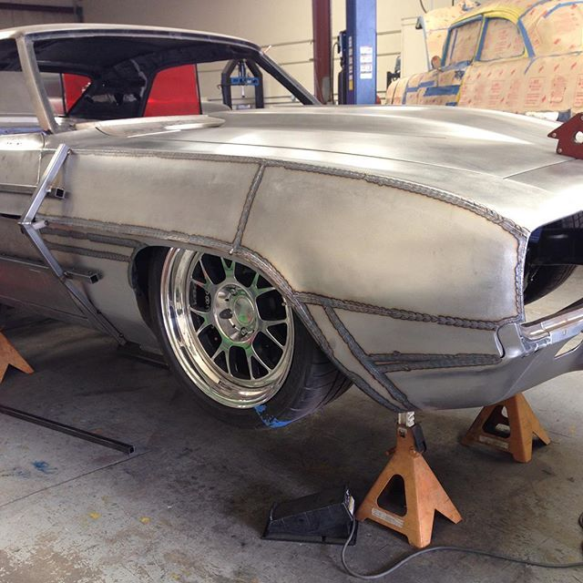 "Passenger side coming along on ""Get Baked"". Getting all the pieces TIG welded in. Next is metal finish and hammer and dolly work! #chevy #1969 #camaro #getbaked #widebody #fab101 #tig #miller #fabrication #gmachine #hotrod #bakersfield #hedindustries #speedshop"