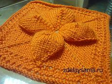 Объемный цветок спицами — квадратный мотив для пледа   Рукоделие