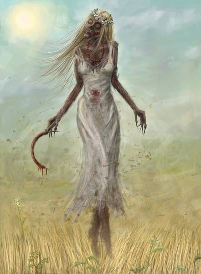 Poludnica (Lady Midday) -  a noon demon in Slavic mythology.  She was usually pictured as a young woman dressed in white that roamed field bounds. She assailed folk working at noon causing heatstrokes and aches in the neck, sometimes she even caused madness.